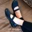 รองเท้าคัทชู สไตล์ลำลอง สายคาดยางยืด ใส่กระชับเท้า (สีดำ )