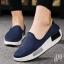รองเท้าผ้าใบเสริมส้นสีน้ำเงิน ผ้ายืดทอ ด้านหลังบุนิ่มใส่สบายไม่กัดเท้า (สีน้ำเงิน )