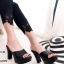 รองเท้าส้นสูงเปิดส้นสีดำ ใส่แล้วดูขาเรียวยาว (สีดำ )