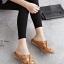 รองเท้าแตะผู้หญิง สไตล์ลำลอง ผ้ายีนส์ ปักด้ายลายดอกกุหลาบ (สีดำ )