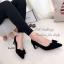รองเท้าคัทชู ส้นสูง หัวแหลม แต่งโบว์ (สีดำ ) thumbnail 4