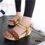รองเท้าส้นเตารีด รัดส้น สายคาดตอกหมุด สไตล์วินเทจ (สีน้ำตาล ) thumbnail 2