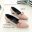 รองเท้าคัทชู หัวแหลม หนังกลับ คาดดอกไม้ (สีชมพู ) thumbnail 3