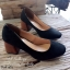 รองเท้าคัทชูส้นสูง หัวแหลม ส้นไม้ (สีดำ ) thumbnail 3