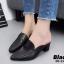 รองเท้าส้นตันหัวแหลมสีดำ เปิดส้น หนังนิ่ม น้ำหนักเบา (สีดำ ) thumbnail 2