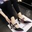 รองเท้าคัทชูส้นสูงสีดำ หัวแหลม เว้าข้าง (สีดำ ) thumbnail 2