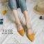 รองเท้าส้นเตี้ยหัวแหลมสีเหลือง น้ำหนักเบา ประดับเพชร (สีเหลือง )