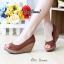 รองเท้าส้นเตารีดส้นโอ่ง เปิดหัวเล็กน้อย (สีน้ำตาล ) thumbnail 3