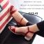 รองเท้าส้นเตี้ยรัดส้น ตัดขอบทอง (สีแดง ) thumbnail 2