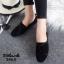 รองเท้าคัทชูส้นเตี้ย แบบผูกเชือก สักหราดนิ่ม ดูดีมีสไตล์ (สีดำ ) thumbnail 2