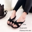 รองเท้าแตะแฟชั่นสีดำ แบบคีบ หนังนิ่มแบบสวม (สีดำ )