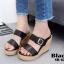 รองเท้าส้นเตารีดเปิดส้นสีดำ สายคาดเข็มขัด ส้นพียู ลายไม้ (สีดำ ) thumbnail 2