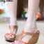 รองเท้าส้นเตารีด เปิดส้น แบบสวม ทรงเว้าข้าง (สีน้ำตาล ) thumbnail 2