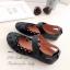 รองเท้าคัทชูรัดข้อ สไตล์แคชชวล ฉลุลาย (สีดำ ) thumbnail 2