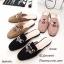รองเท้าส้นเตี้ยเปิดส้นสีชมพู ทรงสลิปเปอร์ Style Gucci (สีชมพู ) thumbnail 4