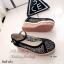 รองเท้าส้นเตารีด ผ้าลูกไม้ แนววินเทจ (สีดำ ) thumbnail 3