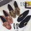 รองเท้าคัทชูส้นแบน หนังสักราจนิ่ม ด้านหน้าทรงตัวยู สไตล์วินเทจ (สีกากี ) thumbnail 2