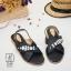 รองเท้าแตะรัดส้นสีดำ สายคาดไขว้ ประดับเพชร (สีดำ ) thumbnail 2