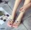 รองเท้าแตะแฟชั่นสีชมพู สายคาดพลาสติกใส ไม่บาดเท้า (สีชมพู ) thumbnail 1