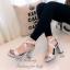 รองเท้าส้นสูง รัดข้อ สายคาดไขว้ สไตล์สาวมั่น (สีเทา ) thumbnail 2