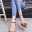 รองเท้าส้นเตี้ยรัดข้อสีน้ำตาล หัวแหลม แต่งอะไหล่ gucci (สีน้ำตาล ) thumbnail 1