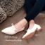 รองเท้าคัทชู ส้นเตี้ย หัวแหลม ผูกโบว์ (สีครีม ) thumbnail 2