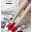 รองเท้าผ้าใบแฟชั่นสีแดง แบบสวม หน้ายางไขว้ ผ้าแคนวาส (สีแดง ) thumbnail 3