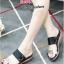 รองเท้าแตะส้นเตารีด ทรงสวม สายคาดสองตอน (สีดำ )