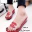 รองเท้าแตะเปิดส้น สไตล์ลำลอง ส้นเตารีด แต่งโลโกCC (สีแดง )