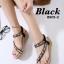 รองเท้าแตะรัดส้น สไตล์ลำลอง แบบสวมนิ้วโป้ง หนังชามัวร์ (สีดำ )