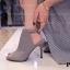 รองเท้าส้นสูง รัดข้อเท้า แบบเปิดหน้า สายรัดเมจิกเทป (สีขาว ) thumbnail 7