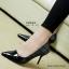 รองเท้าส้นสูงทรงหัวแหลม เว้าข้าง (สีดำ ) thumbnail 2