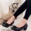 รองเท้าคัทชู ส้นสูง หัวตัด บุนวม (สีดำ ) thumbnail 1