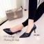 รองเท้าคัทชูหัวแหลมสีดำ หนังนิ่ม เย็บหนังเฉียง (สีดำ ) thumbnail 3