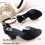 รองเท้าส้นตันรัดข้อสีดำ หนังซัฟฟิโน ส้นเหลี่ยม (สีดำ ) thumbnail 2