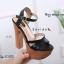 รองเท้าส้นสูงรัดส้นสีดำ ทรงหรู สไตล์เกาหลี (สีดำ ) thumbnail 3