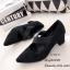 รองเท้าคัทชู ส้นตัน หัวแหลม หนังกลับ (สีดำ ) thumbnail 3