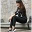 รองเท้าผ้าใบเสริมส้นสีดำ แต่งขอบหนังเงา ดีไซน์สวย (สีดำ ) thumbnail 1
