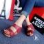 รองเท้าส้นเตารีด แบบสวม สายคาด2ระดับ (สีแดง ) thumbnail 2