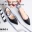 รองเท้าคัทชูส้นแบน สไตล์MiuMiu หนังแก้วนิ่ม แต่งผ้าพันขา (สีดำ ) thumbnail 4