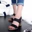 รองเท้าส้นสูง รัดส้น เปิดหน้า สายรัดเมจิกเทป (สีดำ ) thumbnail 5