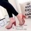 รองเท้าส้นสูง แบบสวม สายคาดแบบใส ลายกุชชี่ (สีเทา ) thumbnail 4
