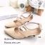 รองเท้าส้นเตี้ยหัวแหลมสีครีม รัดข้อ แต่งซิปหลัง (สีครีม ) thumbnail 3