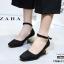 รองเท้าคัทชูส้นตันสีดำ หัวมน สไตล์ Zara (สีดำ ) thumbnail 1