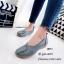 รองเท้าส้นเตี้ย เพื่อสุขภาพ หนังนิ่ม สไตล์วินเทจ (สีเทา ) thumbnail 3