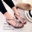 รองเท้าส้นเตี้ย ปิดส้น สายรัดข้อเท้า ปลายเปิด (สีเทา ) thumbnail 2