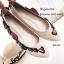 รองเท้าคัทชูส้นแบนหัวแหลมสีครีม ปักดอกไม้ สไตล์gucci (สีครีม ) thumbnail 3