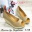 รองเท้าส้นเตารีดส้นโอ่ง เปิดหัวเล็กน้อย (สีครีม ) thumbnail 4