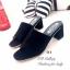 รองเท้าส้นสูง แบบสวม ปลายเปิดสไตล์ลำลอง (สีดำ ) thumbnail 2