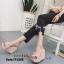 รองเท้าส้นเตารีดเปิดส้นสีชมพู แต่งหนังแบบเย็บดีเทลระบายๆน่ารัก (สีชมพู ) thumbnail 2